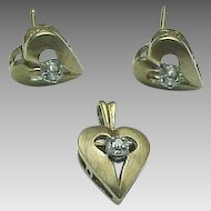 14K Yellow Gold Diamond Puffed Heart Pendant & Matching Pierced Post Earrings