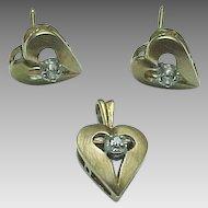 14K Yellow Gold Diamond Puffed Heart Pendant & Matching Pierced Post Earrings