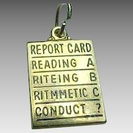 14K gold Report Card Charm