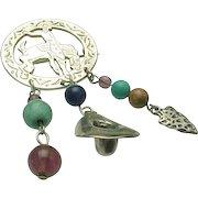 Vintage Sterling Silver, South Western Dangle Charm Brooch/Pendant