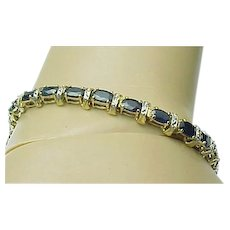 10K Yellow Gold 12 Carat Blue Sapphire & Diamond Bracelet