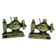 Vintage Gold Plated Pierced Post Sewing Machine Earrings