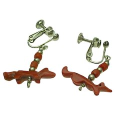 Vintage Red Coral & Silver Fetish Fox/Dog Clip On Earrings
