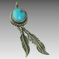 Native American Sleeping Beauty Dangle Leaf Pendant