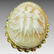 10K Yellow Gold Three Graces Carved Shell Cameo Pendant/Brooch