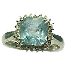 Sterling Silver 3.00 Carat Asscher Cut  Topaz & .25 Carat Diamond Ring