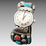 Navajo Sarah Chee, Sterling Silver Turquoise /Coral Timex Watch Cuff