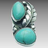 Native American, Sterling Silver Elongated Sleeping Beauty Turquoise Ring