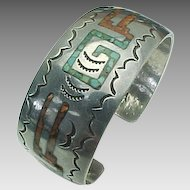 Pete Morgan Navajo ~ Sterling Silver, Turquoise & Coral Chip Cuff ~