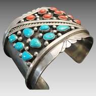 Native American Sterling Silver, Turquoise & Coral Wide CUFF ~ Navajo Tom Willeta ~