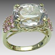 14K Yellow Gold Kunzite & Pink Sapphire Ring ~ Circa 1980's