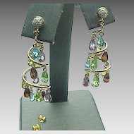 14K Yellow Gold, Multi Gem Dangle Pierced Earrings