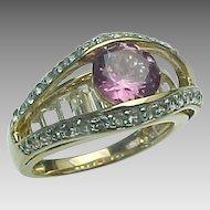 14K Yellow Gold, Rhodolite & Sapphire Ring ~ Circa 1980's