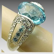 14K White Gold Four Carat Blue & White Topaz Ring