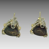 14K Gold Chocolate Quartz & Sapphire Solitaire 3.00 ctw Stud Earrings