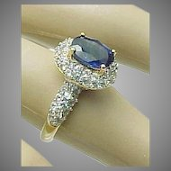 14K Yellow Gold Kyanite & White Zircon Ring Circa 1980's