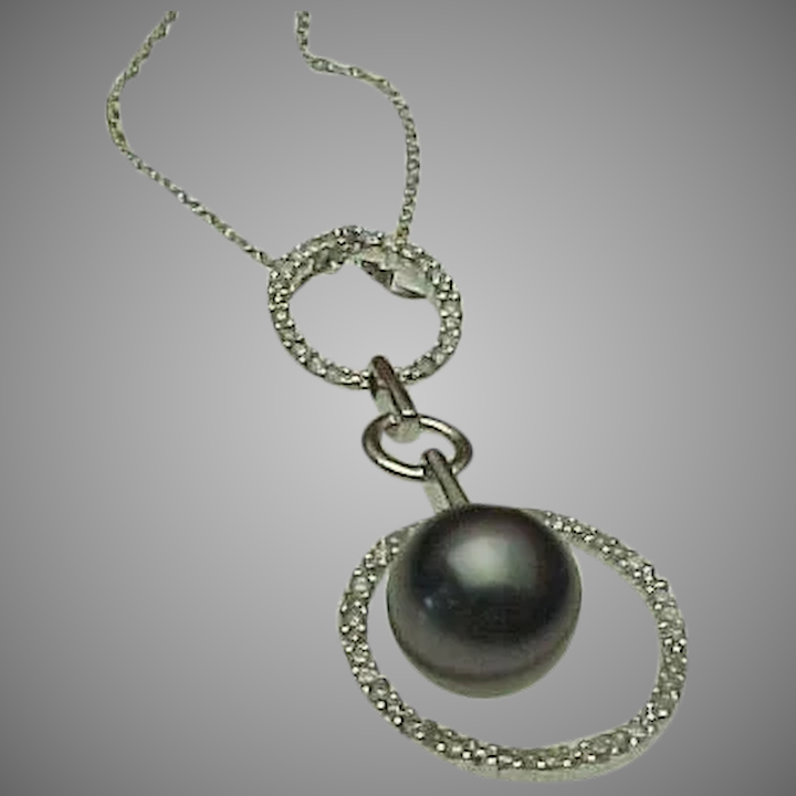 d3fff67f48878 14K White Gold, diamond & Tahitian Pearl Floating Pendant