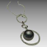 14K White Gold, diamond & Tahitian Pearl Floating Pendant