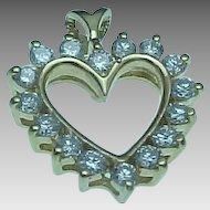 Beautiful 14K Gold .50 Carat Open Heart Diamond Heart Pendant