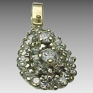 14K Yellow Gold .50 Carat Diamond Cluster Pendant
