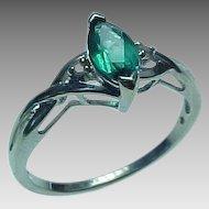 Vintage 10K White Gold .50 Carat Marquis Emerald & Diamond Ring