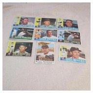 Vintage 1960 Topps Baseball Cards San Francisco Giants Set of 9 Cards