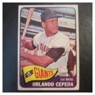 Vintage 1965 Topps Baseball Card Orlando Cepeda