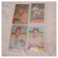 Vintage 1954 Bowman Baseball Cards Set of 4