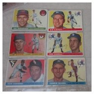 Vintage 1955 Topps Baseball Cards 6 card set