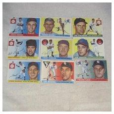 Vintage 1955 Topps Baseball Cards Set of 9