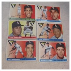 Vintage 1955 Topps Baseball Cards Set of 6 Chicago White Sox