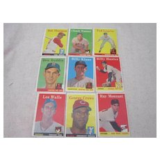 Vintage 1958 Topps Baseball Cards 9 Card Set