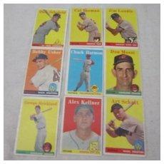 Vintage Topps 1958 Baseball Cards Set of 9