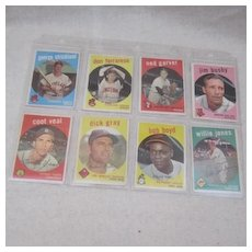 Vintage 1959 Topps Baseball Cards set of 8