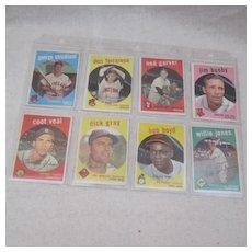 Vintage 1959 Topps Baseball Cards set of 8