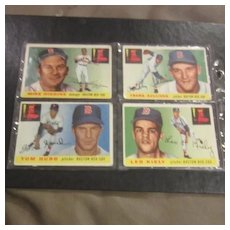 Vintage 1955 Topps Baseball Cards Set of 4 cards