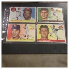 Vintage 1955 Topps Baseball Cards Set of 4