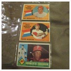 Vintage 1960 Topps Baseball Cards Set of 3