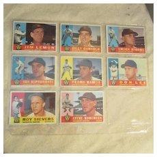 Vintage 1960 Topps Baseball Cards Set of 8 Washington Senators