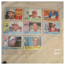 Vintage 1960 Topps Baseball Cards Set of 8 Cincinnati Reds