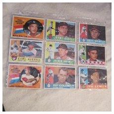 Vintage 1960 Topps Baseball Cards Set of 9 Cards