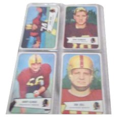 Set of 4 Bowman 1954 Football Cards Washington Redskins