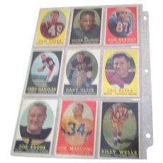 Set of Nine 1958 Topps Football Cards
