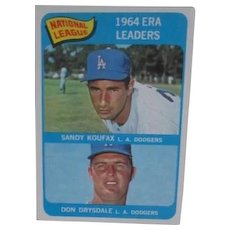 Topps Baseball Card #8 1964 ERA Leaders