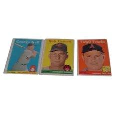 Topps Baseball Cards 1958 Set of 3