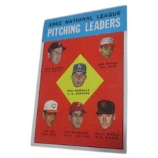 1963 Card with National League Pitching Leaders from 1962