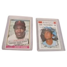 2 Topps Baseball Cards Sporting News Bobby Bonds and Carl Yastrzemski