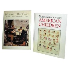 Two Norman Rockwell Books American Children and 60 Years Retrospective