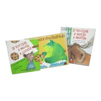 3 Children's Books  If You Give a Mouse a Cookie Moose a Muffin Beast in Bathtub
