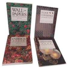 Set of 4 Books Historic Buildings Floor Coverings, Lighting, Fabrics and Wall Papers